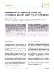Determination of the relationship between core endurance and ...