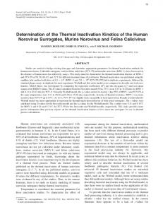 Determination of the Thermal Inactivation Kinetics of the Human ...