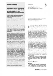 Determination of total homocysteine in plasma: comparison of the ...