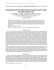 Determination of Toxic Metals in Water of Lahore ... - Springer Link