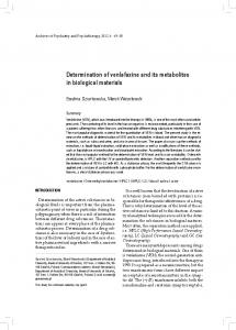 Determination of venlafaxine and its metabolites in