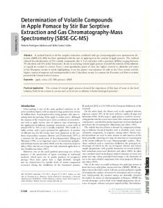 Determination of Volatile Compounds in Apple Pomace by Stir Bar ...