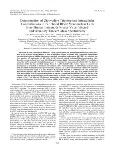 Determination of Zidovudine Triphosphate Intracellular Concentrations ...