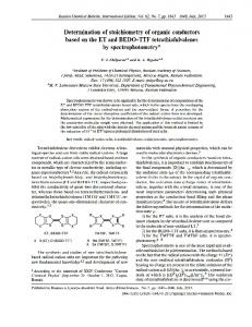 Determinationofstoichiometryoforganicconductors ... - Springer Link