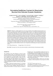 Determining Equilibrium Constants for Dimerization Reactions from ...