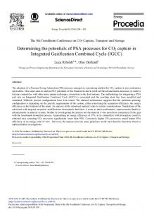 Determining the Potentials of PSA Processes for CO2 Capture ... - Core