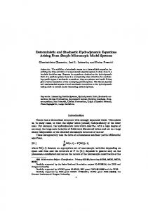 Deterministic and Stochastic Hydrodynamic