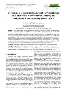 Developing a Conceptual Framework for Considering the ...