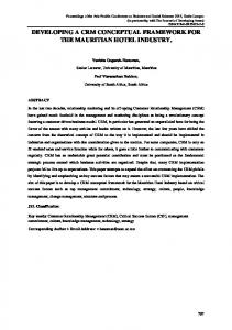 DEVELOPING A CRM CONCEPTUAL FRAMEWORK FOR THE ...