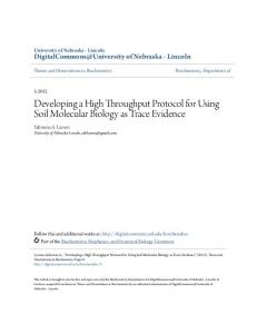 Developing a High Throughput Protocol for Using Soil Molecular ...