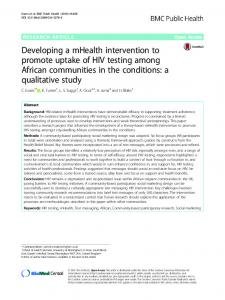 Developing a mHealth intervention to promote uptake of HIV testing ...