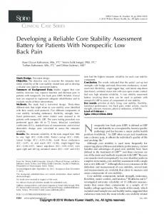 Developing a Reliable Core Stability Assessment ... - IngentaConnect