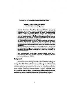 Developing a Technology Based Learning Model Background