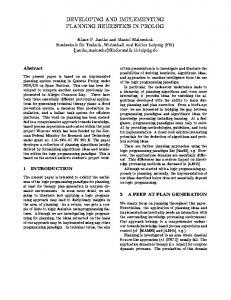developing and implementing planning heuristics ... - Semantic Scholar