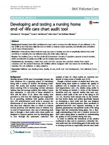 Developing and testing a nursing home end -of ... - BMC Palliative Care