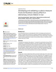Developing and validating a scale to measure Food and ... - PLOS