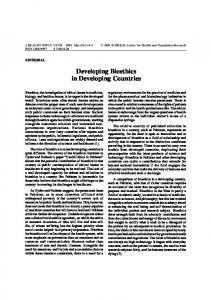 Developing Bioethics in Developing Countries - IMSEAR