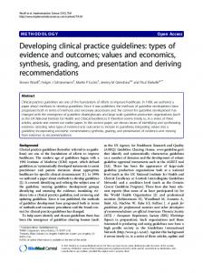 Developing clinical practice guidelines - Implementation Science