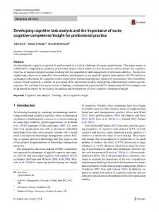 Developing cognitive task analysis and the importance of socio
