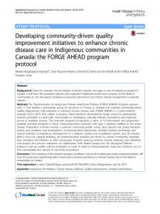 Developing community-driven quality improvement initiatives to ...