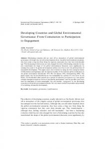 Developing Countries and Global Environmental Governance: From ...