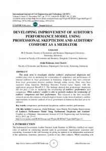 developing improvement of auditor's performance ... - IAEME Journals