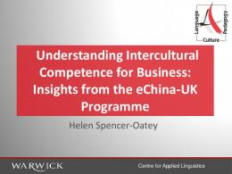 Developing Intercultural Competence - University of Warwick