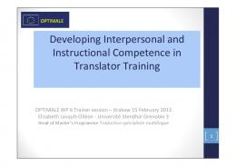 Developing Interpersonal and Instructional Competence in ...