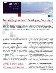 Developing Leaders? Developing Countries?