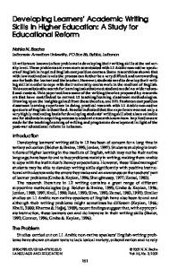 Developing Learners' Academic Writing Skills in Higher Education: A ...