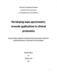 Developing mass spectrometry towards applications in clinical ...