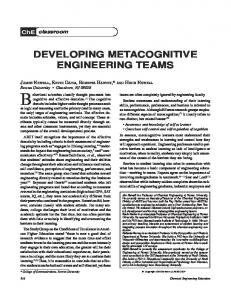 Developing Metacognitive Engineering Teams - Let Me Learn