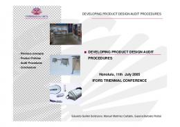 developing product design audit procedures - ruc@udc