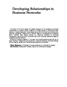 Developing Relationships in Business Networks - IMP Group