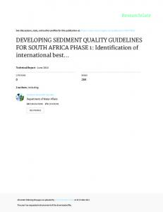 DEVELOPING SEDIMENT QUALITY GUIDELINES
