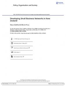 Developing Small Business Networks in New Zealand