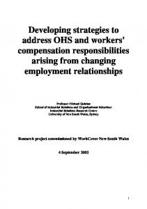 Developing strategies to address OHS and workers