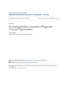 Developing Students' Awareness of Plagiarism: Crisis and ... - CiteSeerX