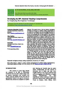 Developing the EFL Students' Reading