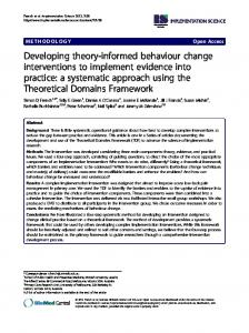Developing theory-informed behaviour change interventions to ...