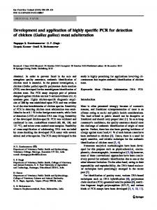 Development and application of highly specific PCR for detection of ...