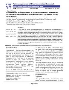 Development and application of spectrophotometric method for