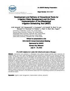 Development and Delivery of Educational Tools for Irrigation Water ...