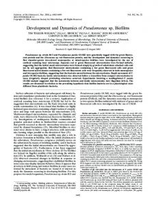 Development and Dynamics of Pseudomonas sp. Biofilms - Journal of ...