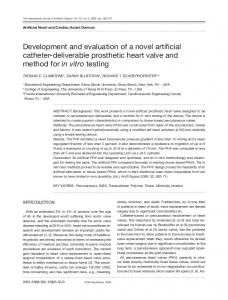Development and evaluation of a novel artificial
