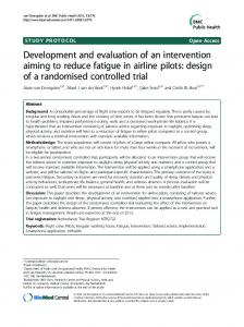 Development and evaluation of an intervention aiming to reduce ...