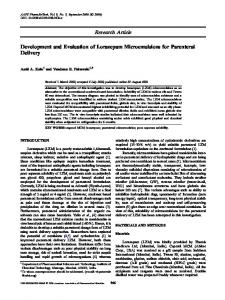 Development and Evaluation of Lorazepam Microemulsions for ...