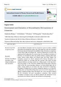 Development and Evaluation of Mucoadhesive Microspheres of ...
