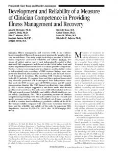 Development and Reliability of a Measure of ... - Psychiatric Services