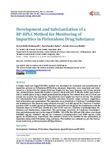 Development and Substantiation of a RP-HPLC Method for Monitoring ...